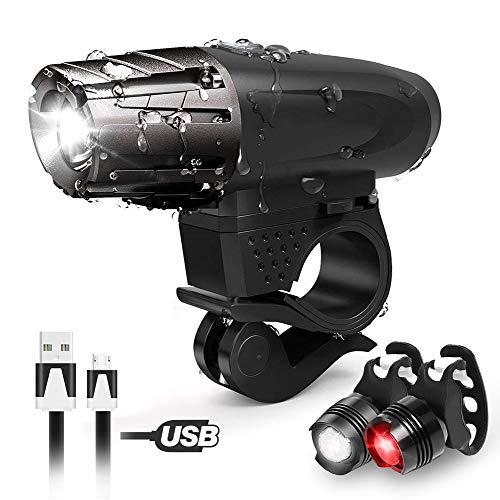 UBEGOOD Fahrradlichter set, Fahrradlicht USB Aufladbar Fahrradlampe LED Set Frontlicht & Rücklichter IPX65 Wasserdicht 4 Licht-Modi 1 USB-Kabel Fahrrad Licht für Radfahren,Wandern,Laufen,Camping.
