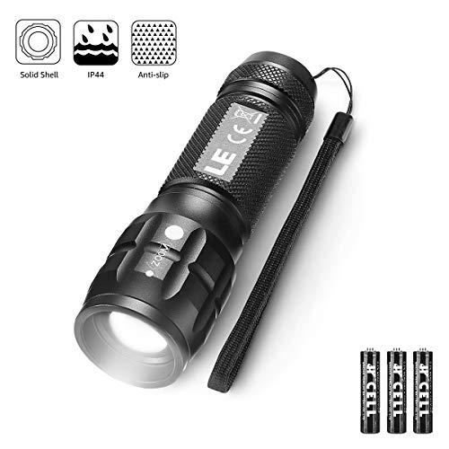 LE LED Taschenlampe, Wasserdicht Taschenlampen für Outdoor Sports, Tragbarer Zoombar Superhelle LED Flashlight, Extrem Hell Camping Taschenlampe für Männer, Kinder, Junge (Dark Black 1 Pack)
